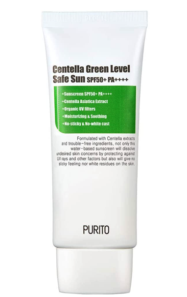 PURITO Centella Green Level Safe Sun SPF50+ PA++++Broad Spectrum UVA12UVB/oil-free suncream/non-nano system Acne-prone skin